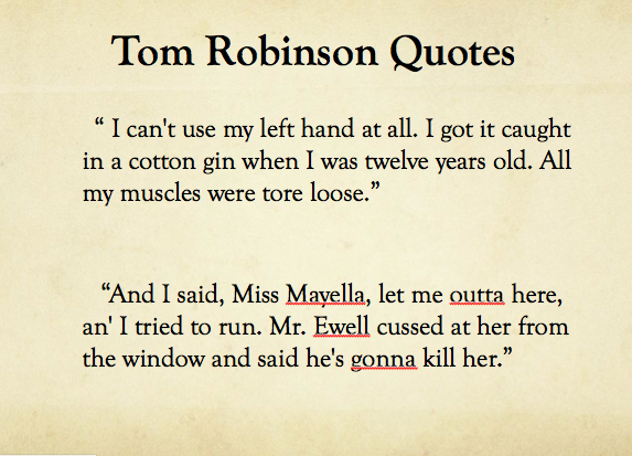 tom robinson essay To kill a mockingbird - tom robinson and boo radley essaysin the novel to kill a mockingbird, by harper lee, numerous issues such as racism, discrimination, and social classes are explored the story is set in the small southern american town of maycomb in the 1930's, where most of the populati.