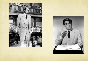 Atticus Finch is portrayed in these images as very serious.